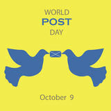 Vector icons graphical design for world post day with letter and dove. Royalty Free Stock Images