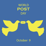 Vector icons graphical design for world post day with letter and dove. Royalty Free Stock Image