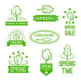 Vector icons of green nature trees for spring sale Royalty Free Stock Photography