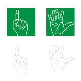 Vector icons of the hands. Size and color can be changed Royalty Free Stock Photos