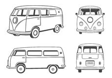 Vector Icons Hippie Bus Royalty Free Stock Images