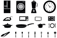 Vector icons of home appliances  and Consumer Electronic. S Tv Fridge Microwave Washer utensils and Electric Cooker Stock Photo