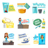 Vector icons for home housework cleaning washing. Housework washing, cleaning and laundry flat icons set. Vector housewife woman mopping, wash and clean windows stock illustration