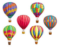 Vector icons of hot air balloons sketch pattern. Hot air balloon with pattern ornament design. Vector sketch icons of isolated inflated hopper baloons or Royalty Free Stock Image
