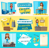 Vector icons for housework cleaning washing sewing. Housework washing, sewing or cleaning and dishwashing banners set. Vector housewife woman with vacuum cleaner royalty free illustration