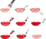 Vector Icons How To Apply Makeup, Lip. Makeup application, Applying Lipliners. Makeup Trends - Beautiful red Lips. One of series mak-up rules illustrations vector illustration