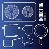 Vector icons induction cooktops and kitchen utensils stock illustration