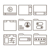 Vector icons of interface screens or software windows Royalty Free Stock Photos