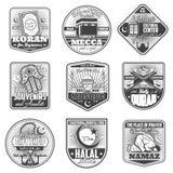 Vector icons of Islam religious symbols. Islam religious symbols and worship signs. Vector icons of Muslim mosque for Mecca hajj, namaz prayer or halal food and stock illustration