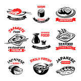 Vector icons for Japanese sushi food restaurant. Sushi icons set for Japanese seafood or sushi bar. Vector isolated symbols sashimi rolls and salmon fish Royalty Free Stock Image