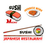 Vector icons for japanese sushi seafood restaurant Stock Image