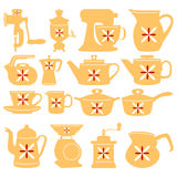 Vector icons. Kettles for kitchen. Stock Photos