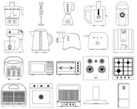 Vector icons of kitchen appliances royalty free illustration