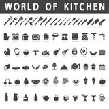 Vector icons of kitchen and food Royalty Free Stock Photo