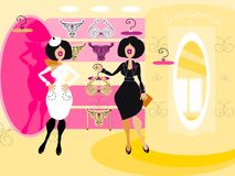 Vector icons ladies at lingerie shopping Stock Image