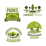 Vector icons for landscape gardening company Stock Photo