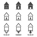 Vector icons - lodges and houses Royalty Free Stock Photo