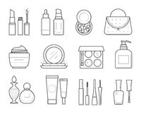 Vector icons of makeup tools Royalty Free Stock Photos