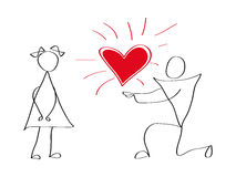 Vector icons of men and women on love Valentine's Day Stock Photography