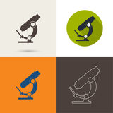 Vector icons with a microscope Royalty Free Stock Photo
