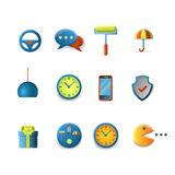 Vector icons for mobile app interface: chat security clock wheel Stock Photos