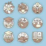 Vector icons in modern linear style. Stock Image
