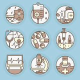 Vector icons in modern linear style. Set of Medicine vector icons in modern linear style Stock Photography