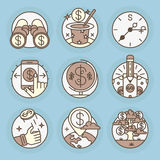 Vector icons in modern linear style. Set of vector icons in modern linear style. money schemes, Business and Finance Stock Images