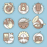 Vector icons in modern linear style. Set of music vector icons in modern linear style royalty free illustration