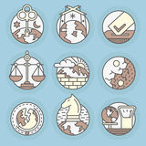 Vector icons in modern linear style. Royalty Free Stock Photography