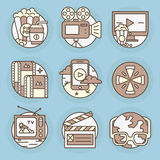 Vector icons in modern linear style. Royalty Free Stock Photo