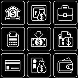 Vector icons - Money, bank, business. White icons on a black background Stock Image