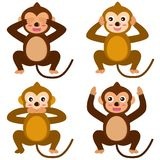 Vector Icons : Monkey - See Hear Speak No Evil. A colorful set of cute Animal Vector Icons : Monkey - See Hear Speak No Evil stock illustration