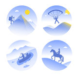 Vector icons of mountain types of summer tourism Royalty Free Stock Photography