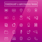 Vector icons MULTIMEDIA Thin Line white. Vector set icons MULTIMEDIA Thin Line white vector illustration