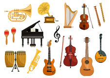 Vector icons of musical instruments Stock Image