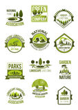 Vector icons of nature landscape and green company. Green environment and nature landscape company icons set. Vector isolated symbols of ecology parks, forest Stock Photo
