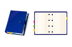 Vector icons with note book and organizer. Icons with blue note book and organizer Stock Photos