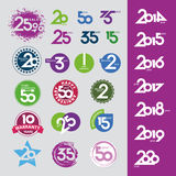 Vector icons with numbers dates anniversaries. Collection of vector icons with numbers dates anniversaries Royalty Free Stock Photos