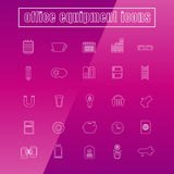 Vector icons office equipment Thin Line white. Vector set icons office equipment Thin Line white Stock Photos