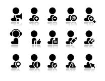 Vector icons of office worker. Vector icons of worker, office worker situation pictograms, supplies set in flat design Stock Image