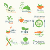 Vector icons of organic natural food, vegan and vegatarian signs Stock Images