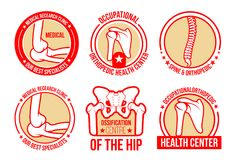 Vector icons for orthopedics and rheumatology. Orthopedics and rheumatology medical icons templates for joints and spine healthcare. Vector isolated symbols of Royalty Free Stock Photo
