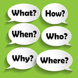 Vector icons of paper with questions Stock Photos