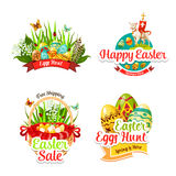 Vector icons and paschal stickers for Easter sale Stock Photos