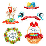 Vector icons and paschal symbols for Easter design Royalty Free Stock Photo