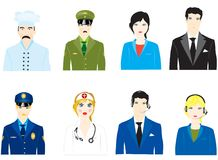 Vector icons of the people varied profession. On white background Stock Photography
