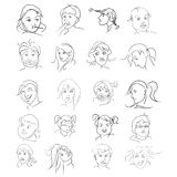 Vector icons of peoples faces. A set of peoples faces Royalty Free Stock Images