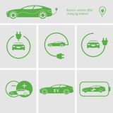 Vector Icons pin point electric vehicle charging station. Isolated electric car. Symbols hybrid cars. Future concept. Vector illustration charging station for stock illustration