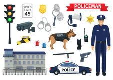 Vector icons of policeman occupation and police Stock Images